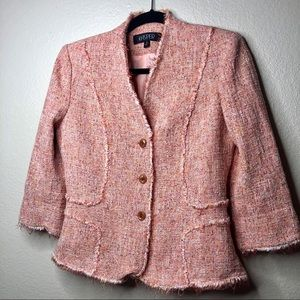 Tweed Coral Pink Kasper blazer 6